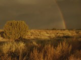 A Rainbow Appears over a Mesa as a Storm Approaches