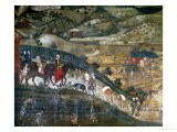 Landscape with Peasants and a Hunting Party - Ambrogio Lorenzetti