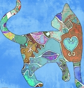 art numerique animaux chat pastel trival : Tribal Cat 1