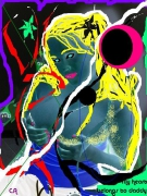 art numerique nus peinture sur photo nu femme colore : My heart belongs to daddy