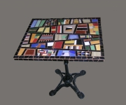 artisanat dart abstrait mosaique decoration salon jardin : table bistrot