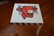 artisanat dart animaux table mosaique faience vache : Table basse plateau en mosaique Faience