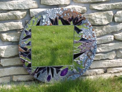 Artisanat d 39 art miroir rond mosa que abstrait epines vendu for Miroir des modes 427