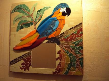 Artisanat d 39 art oiseau perroquet exotique faune miroir for Miroir des modes 427