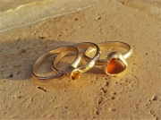 bijoux bague argent sea glass citrine : Bouton d'Or