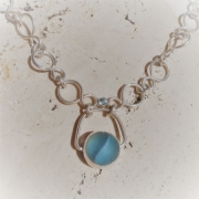 bijoux collier argent sea glass topaze : Blue eye