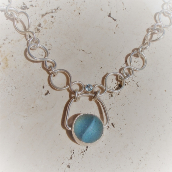 BIJOUX collier argent sea glass topaze  - Blue eye