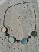 bijoux collier perle de tahiti sea glass argent : AQUARELLE