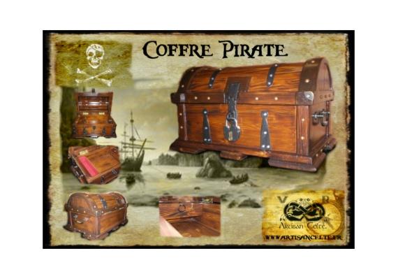 BOIS, MARQUETERIE pirate coffre tresor coffret  Le Capitaine ~ Coffre Pirate Bois