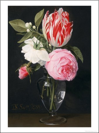 fleurs dans un vase de verre daniel seghers posters affiches d 39 art. Black Bedroom Furniture Sets. Home Design Ideas