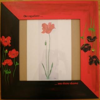 D co design cadre coquelicot peinture rouge et noir for Cadre peinture design