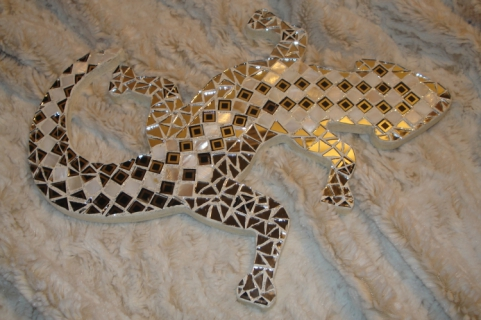 D co design l zard mosaique nacre miroir l zard en mosa que for Miroir mosaique design