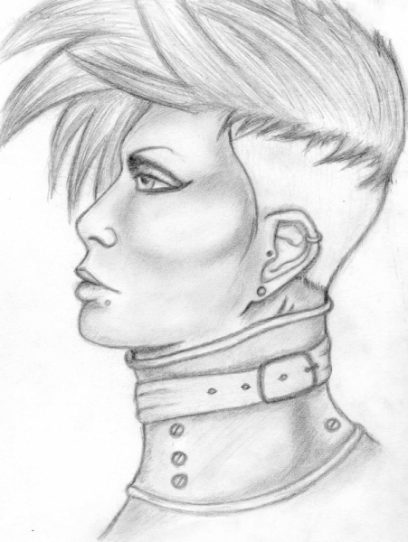 DESSIN androgyne personnage punk portrait Personnages Crayon  - Androgyne au collier