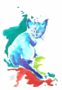 dessin animaux chat aquarelle : Lino surpris