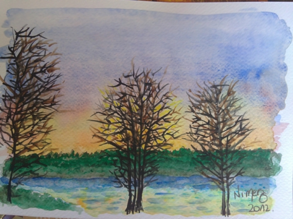 dessin arbres hiver soleil couleurs couch de soleil hivernal. Black Bedroom Furniture Sets. Home Design Ideas