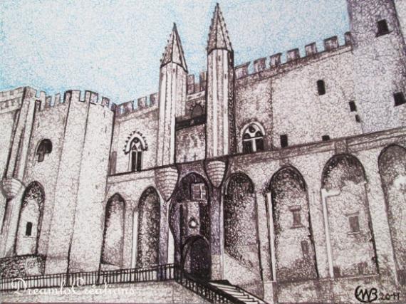 Dessin avignon palais des papes for Dessin d architecture