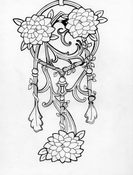 dessin attrape r ve encre indien art nouveau dreamcatcher. Black Bedroom Furniture Sets. Home Design Ideas