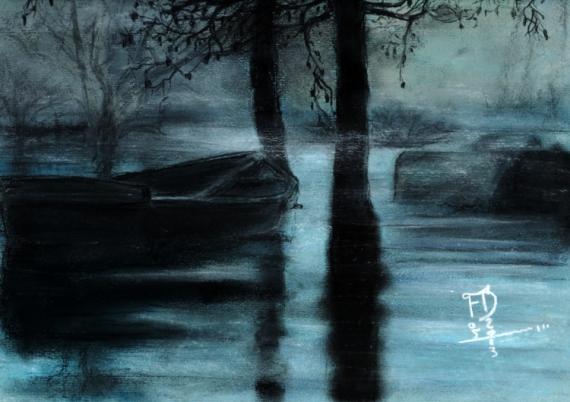 Dessin brume barque pastel brouillard dans la brume - Dessin au pastel sec ...