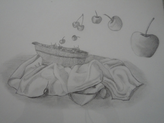 Dessin cerise corbeille fruit nature morte a rienne - Dessin nature morte ...