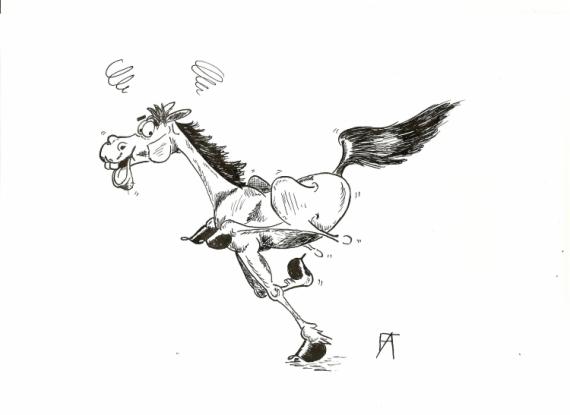 Dessin cheval humour galop encre humour galop - Cheval rigolo ...