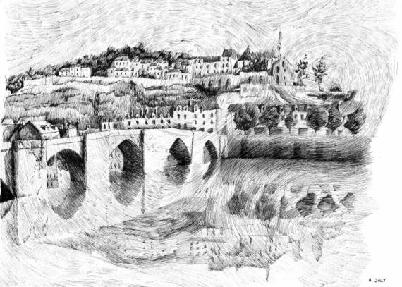 DESSIN encre paysage chine dessin - Terrasson