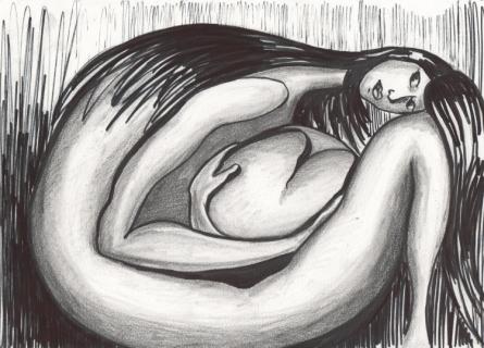 Dessin femme coeur foetus noir et blanc femme et son coeur - Dessin chevaux noir et blanc ...