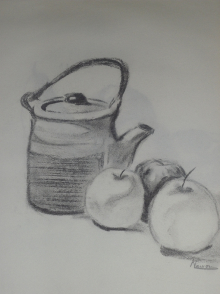 Dessin fusain bouilloir fruit nature morte 1 - Dessin de nature morte ...