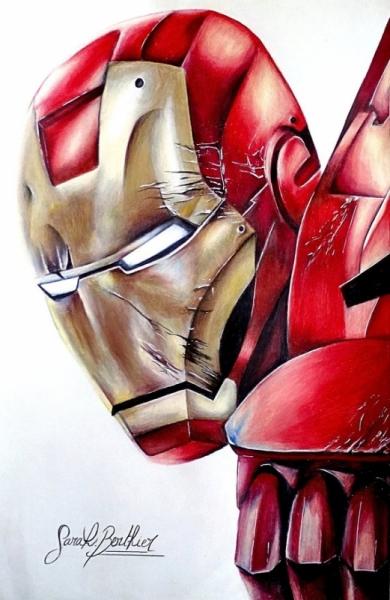 dessin iron man avengers comics marvel personnages crayon dessin iron man au crayons de couleurs - Dessin Marvel