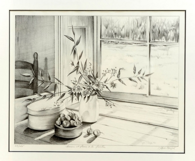 Dessin nature morte fen tre int rieur dessin pot de - Dessin nature morte ...