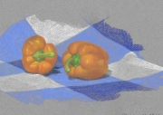 dessin nature morte poivrons legume orange drape : NATURE MORTE