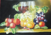 dessin nature morte raisins nature morte pastel : Nature morte aux raisins 2