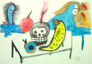 dessin nature morte table crane fruits paysage : Vanité