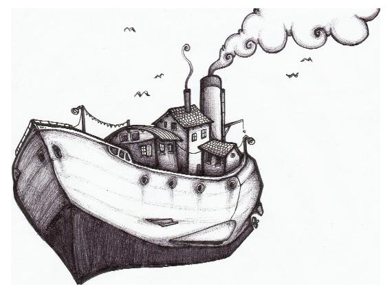 Dessin navire bateau bateau volant - Dessin de bateau ...