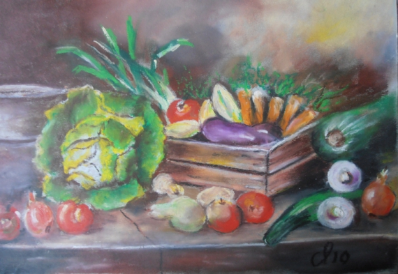 Dessin pastel gras nature morte fruits l gumes retour du march - Dessin de nature morte ...