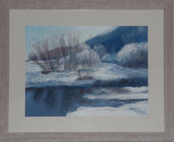 Dessin pastel la cluse et m paysage enneig pastel rivire dessin pastel sec matin au fil de l - Dessin au pastel sec ...
