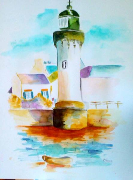 Dessin paysage aquarelle phare phare - Dessin de phare ...