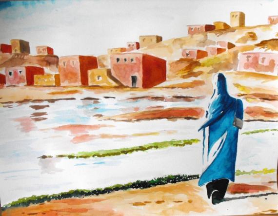 Dessin paysage aquarelle ville paysage africain - Dessin paysage africain ...