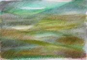"dessin paysages art contemporain decoration design pastel ,a l huil : ""Paysage imaginaire 5"" pastel gras aquarelle 14,7X21"