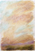"dessin paysages art contemporain design pastel ,a l huil decoration : ""Paysage imaginaire 3"" pastel gras aquarelle 14,7X21"