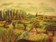 dessin paysages remigny nature prairie champs : Remigny au vert