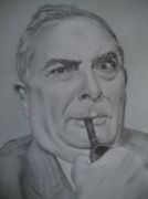 dessin personnages chabrol portrait fusain dessin : Claude Chabrol