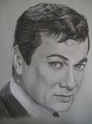 dessin personnages curtis portrait fusain charcoal : Tony Curtis