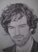 dessin personnages duris fusain dessin portrait : Romain Duris