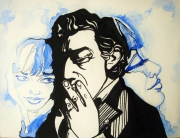 dessin personnages illustration gainsbourg birkin aquarelle : Flashback Gainsbourg et Birkin