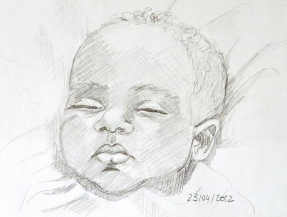 Dessin portrait bébé enfant personnages crayon - croquis bébé