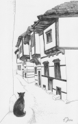 dessin scene de genre bulgarie village maison ,a colombages chat noir : Village bulgare