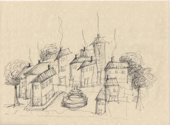 Dessin village fontaine dessin esquisse le village et la - Village dessin ...