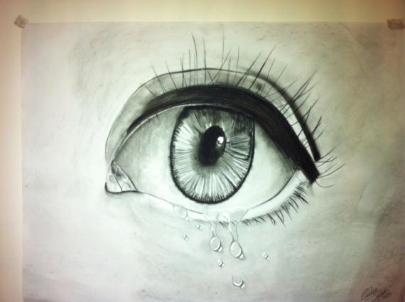 Dessin yeux gouttes larmes visage triste novembre - Dessin triste ...