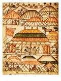 Encampment of Merchants Selling Grain, The Book of the Mogul, 17th century Manuscript