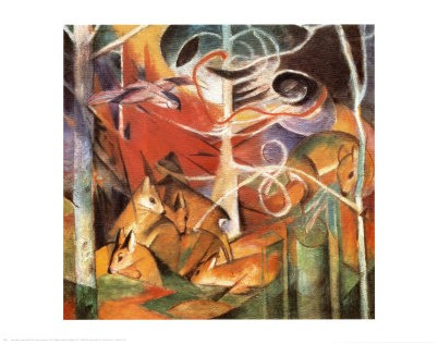 cerf dans la for t i franz marc posters affiches d 39 art. Black Bedroom Furniture Sets. Home Design Ideas